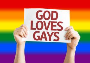 God Loves Gay card with Rainbow flag background
