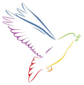 Taube regenbogenfarben mit Zweig auf weißem Hintergrund